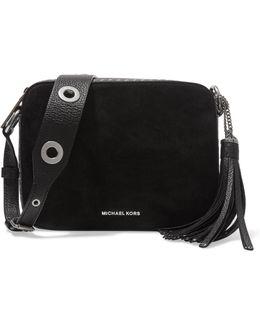 Brooklyn Large Tassel-trimmed Studded Textured Leather-paneled Suede Shoulder Bag