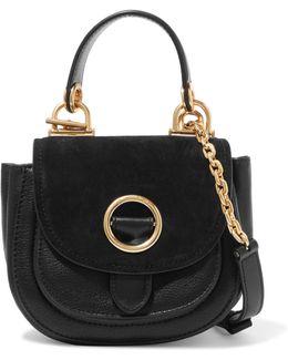 Isadore Suede-paneled Textured-leather Shoulder Bag