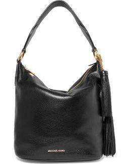 Elana Large Tassel-embellished Textured-leather Shoulder Bag