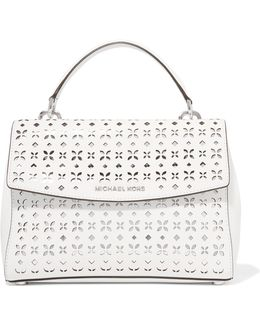 Ava Metallic Cutout Textured-leather Tote