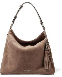 Elyse Large Tasseled Leather-trimmed Suede Shoulder Bag