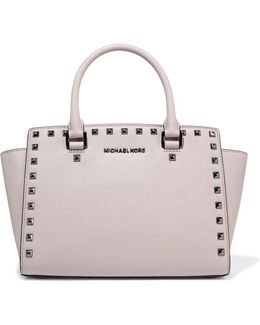 Selma Studded Textured-leather Tote