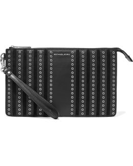 Brooklyn Eyelet-embellished Leather-paneled Suede Clutch