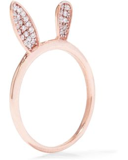 Bunny Ear Rose Gold-plated Crystal Ring
