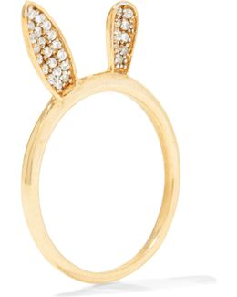 Bunny Ear Gold-plated Crystal Ring