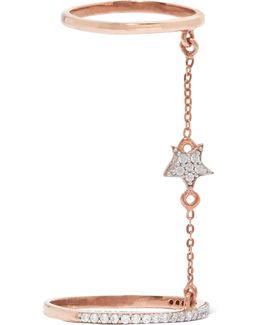 Double Star Rose Gold-plated Topaz Ring