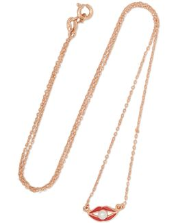 Rose Gold-tone, Enamel And Faux Pearl Necklace