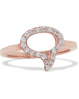 Speech Bubble Rose Gold-plated White Topaz Ring
