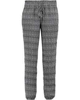 Jourdanna Printed Silk Crepe De Chine Track Pants