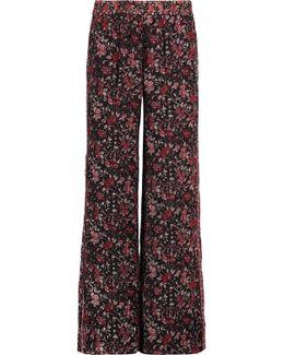 Kieran Printed Silk Wide-leg Pants
