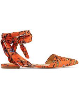 Brandie Printed Satin Point-toe Flats
