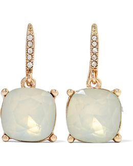 Gold-tone Crystal And Stone Earrings