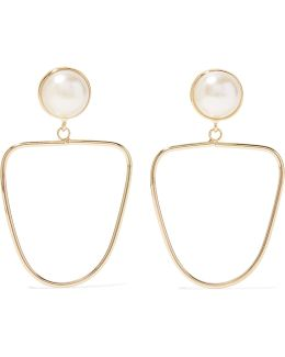Gold-tone Faux Pearl Earrings