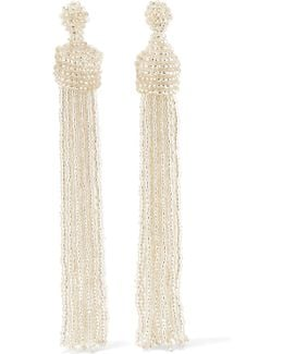 Tasseled Silver-tone Bead Earrings