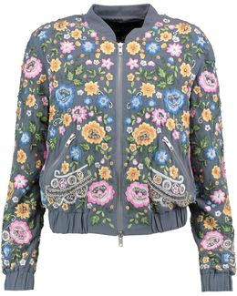 Embroidered Foliage Bomber Jacket