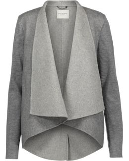 Ribbed Wool-paneled Wool-blend Felt Jacket