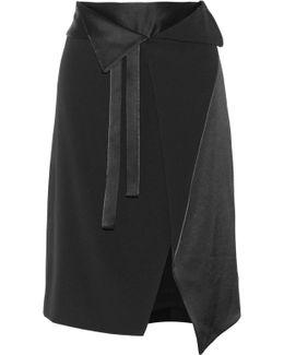 Wrap-effect Satin-paneled Crepe Skirt