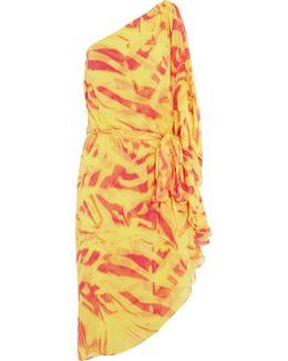 One-shoulder Crinkled Printed Silk-chiffon Dress