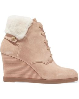 Carrigan Faux Fur-trimmed Suede Wedge Boots