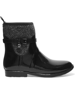Scuba-paneled Glossed-rubber Ankle Boots