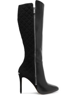 Clara Leather And Quilted Suede Knee Boots