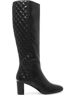 Lucy Smooth And Quilted Leather Knee Boots