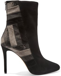 Suede And Textured-leather Ankle Boots