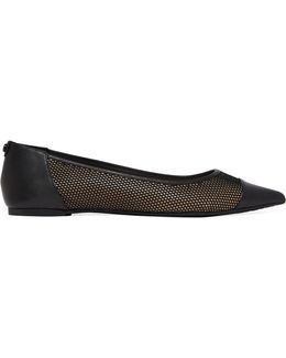 Leilah Leather-trimmed Mesh Point-toe Flats