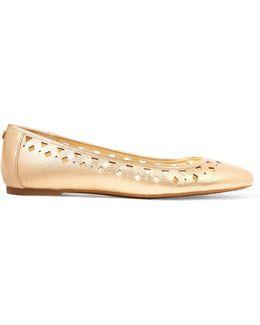 Metallic Laser-cut Leather Ballet Flats