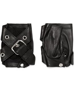 Buckled Leather Fingerless Gloves