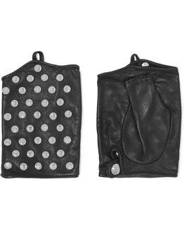 Stud-embellished Leather Fingerless Gloves