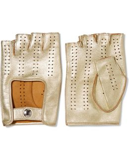 Perforated Metallic Leather Fingerless Gloves