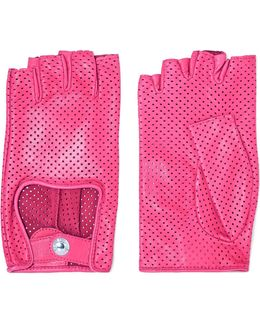 Perforated Leather Fingerless Gloves