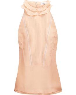 Grace Ruffled Pintucked Silk-georgette Top