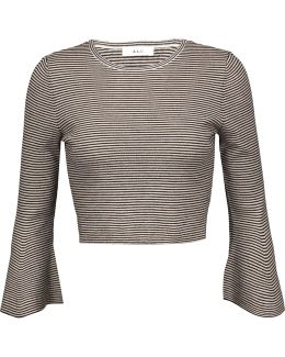 Shiloh Cropped Striped Wool-blend Top