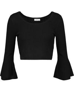 Mara Cropped Fluted Merino Wool-blend Sweater