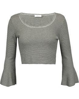 West Cropped Striped Merino Wool-blend Top