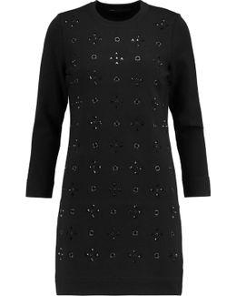Embellished Wool-blend Mini Dress
