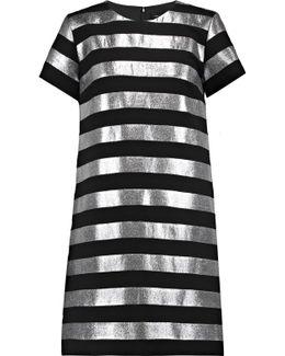 Metallic Striped Crepe Dress