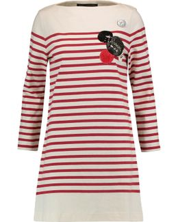 Appliquéd Striped Cotton Mini Dress