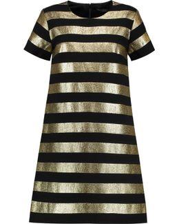 Striped Lamé And Crepe Mini Dress