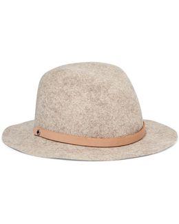 Abbott Leather-trimmed Wool-felt Fedora