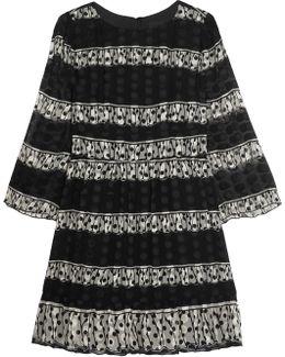 Two-tone Printed Silk-blend Jacquard Mini Dress