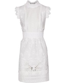 Crocheted Silk Lace-trimmed Broderie Anglaise Cotton Mini Dress