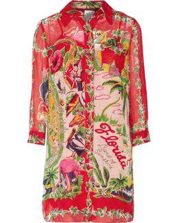Florida: Land Of Sunshine Printed Silk-chiffon Jacquard Mini Dress