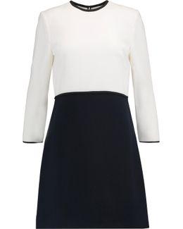 Two-tone Wool-crepe Mini Dress