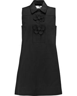 Floral-appliquéd Cotton-faille Mini Dress