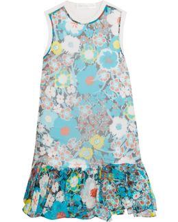 Paneled Printed Silk And Cotton Mini Dress