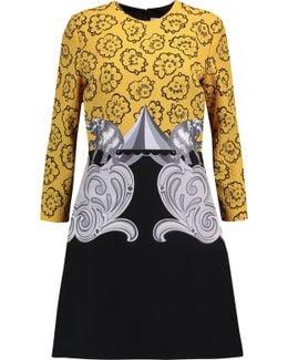 Cloqué And Printed Crepe Mini Dress