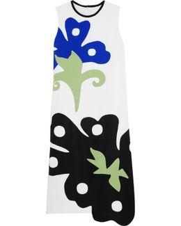 Appliquéd Crepe Midi Dress